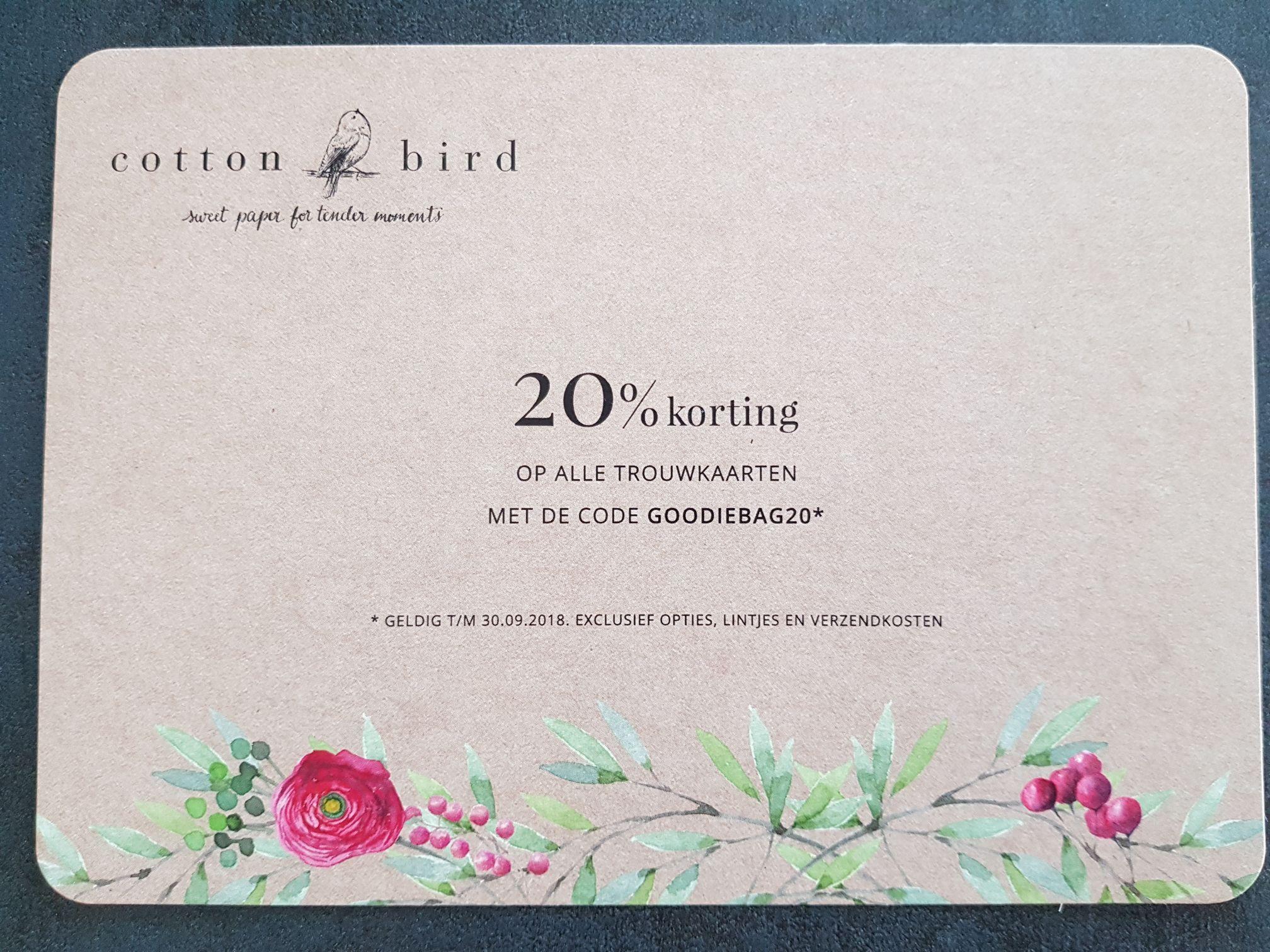 Trouwkaarten 20% korting cottonbird