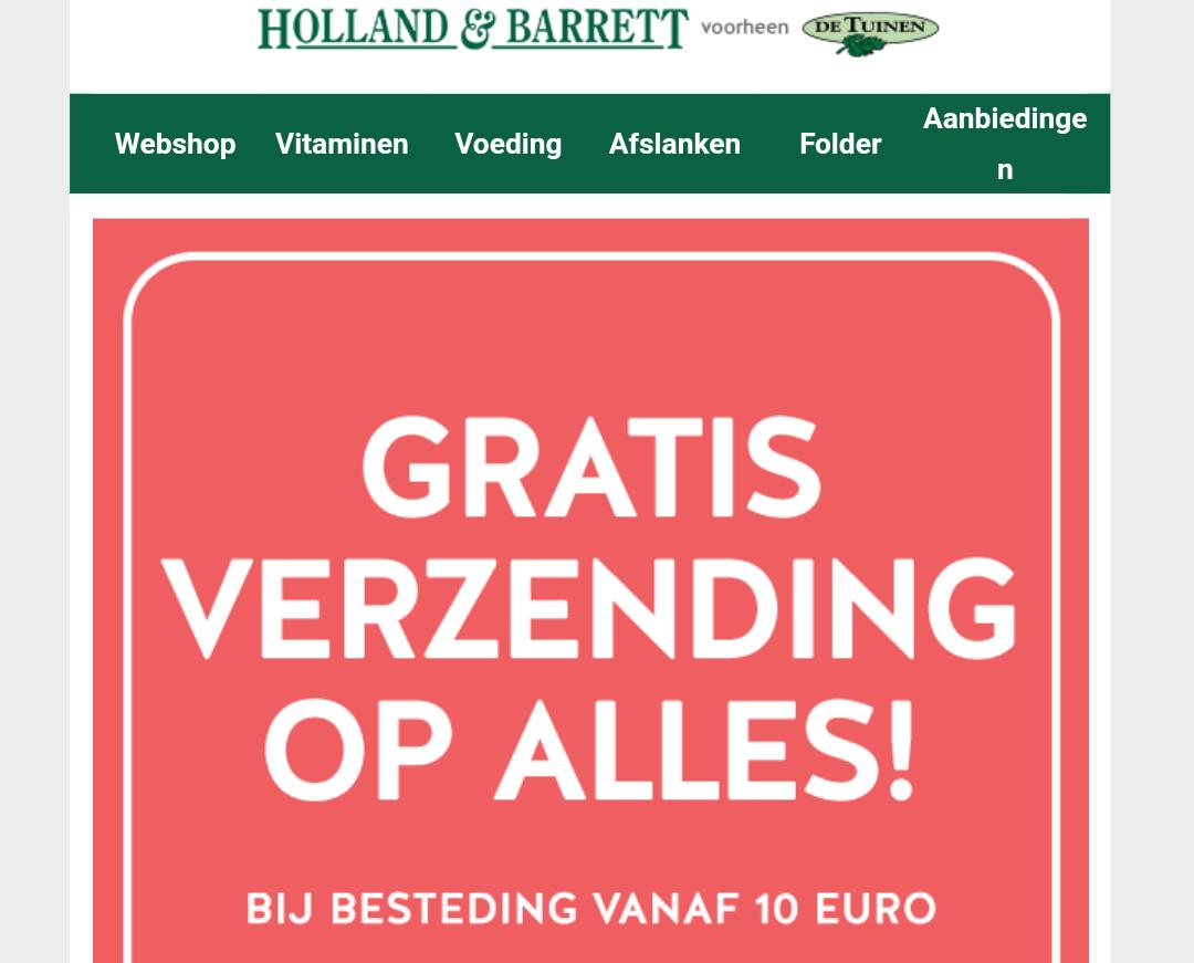 Gratis verzending Holland&Barrett bij minimale besteding van 10 euro