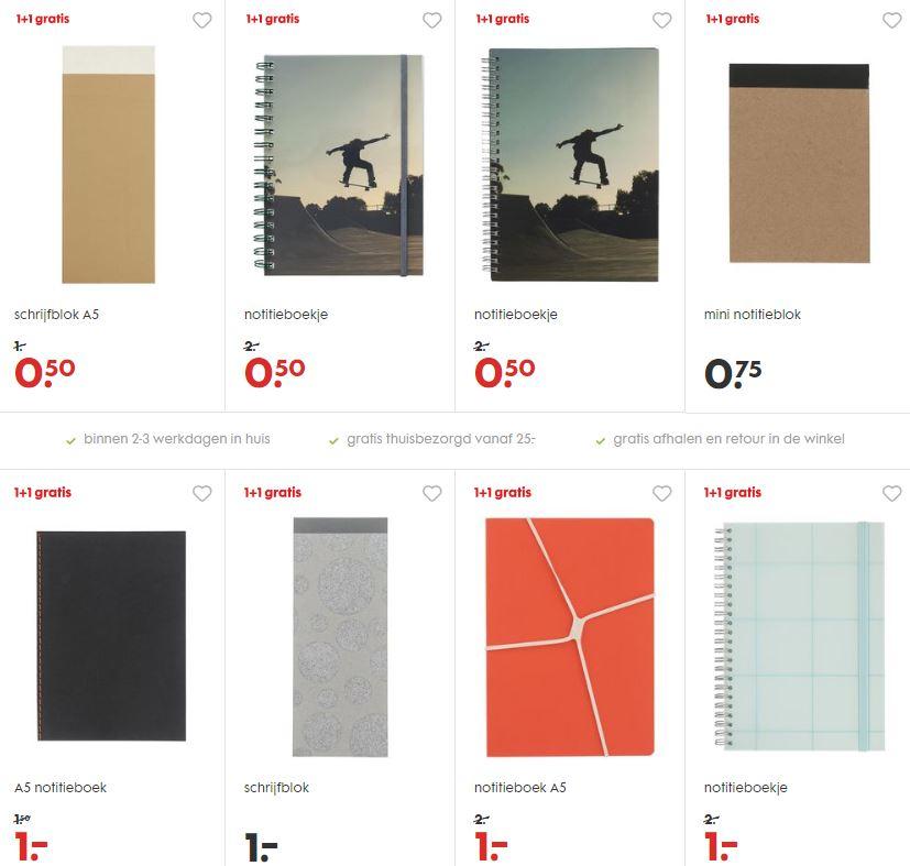 Notitieblokjes 1+1 gratis - ook sale - al 2 voor €0,50 @ HEMA