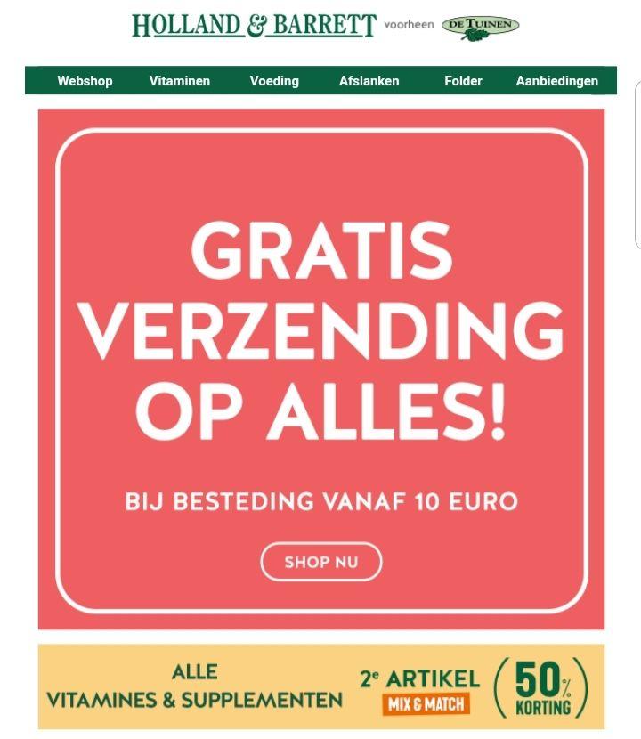 @Holland & Barrett Gratis verzending vanaf €10 en 50% korting op 2de product op heel assortiment