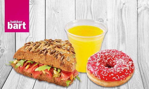 Broodje, donut plus drinken voor €3,95 ipv €8,00 bij Bakker Bart Groningen: Social Deal