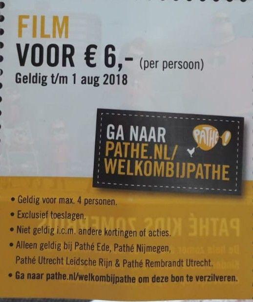Film voor 6 euro bij pathé Ede, Nijmegen en Utrecht Leidsche Rijn