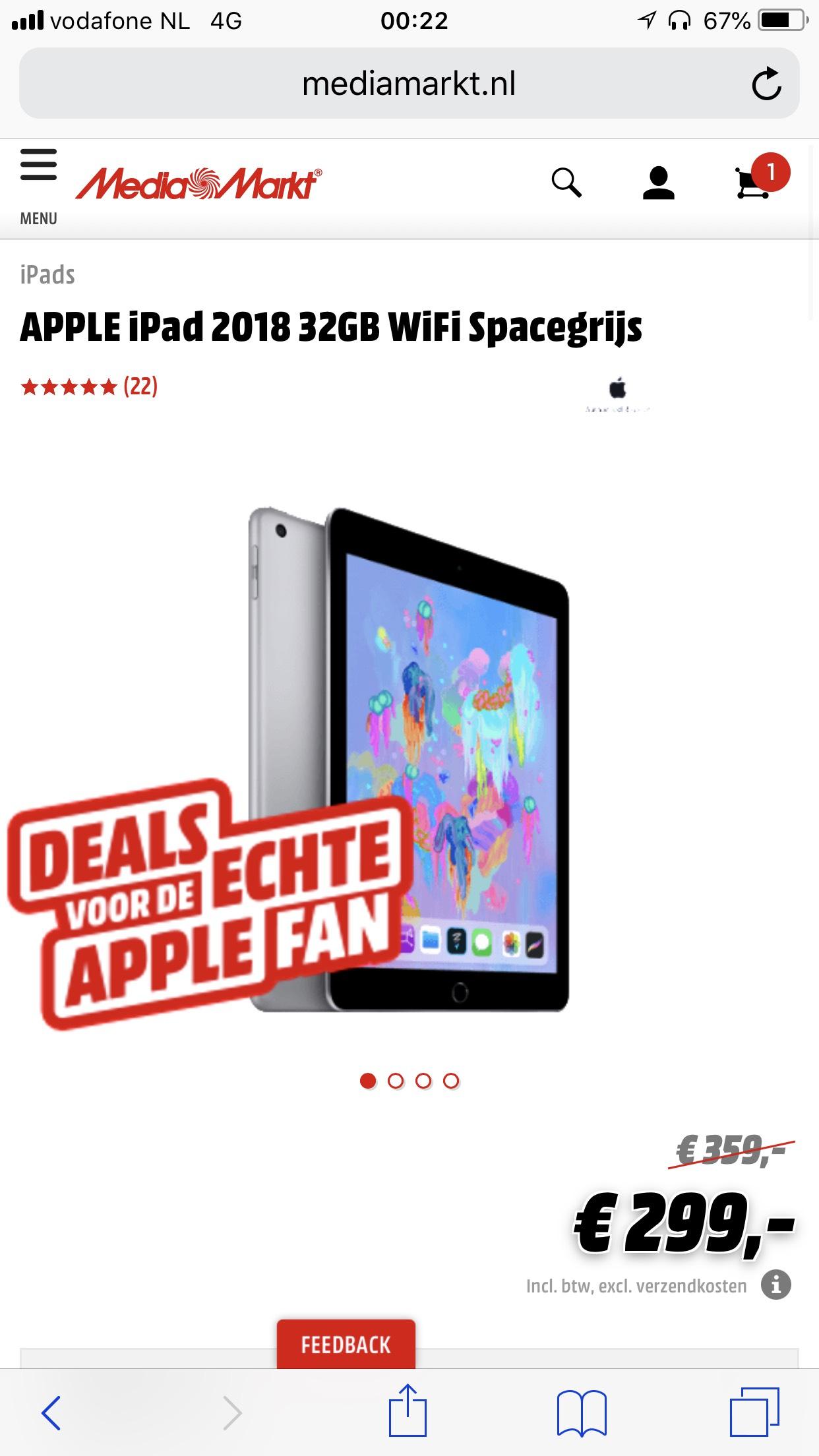 Ipad 2018 32GB voor €299,- @ Mediamarkt
