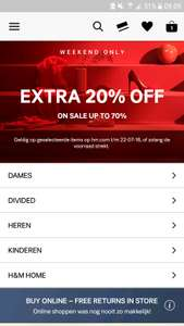 H&M 20% extra korting op sale