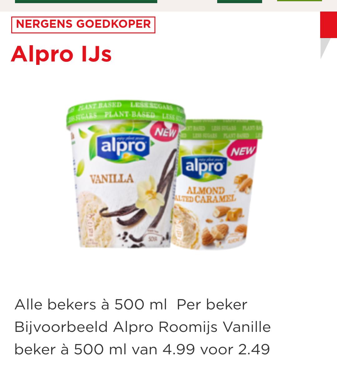 Alpro ijs 50% korting bij de Plus