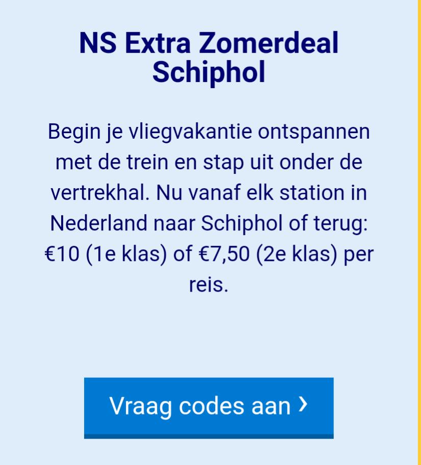 Voor €7,50 enkeltje Schiphol (5 keer mogelijk)