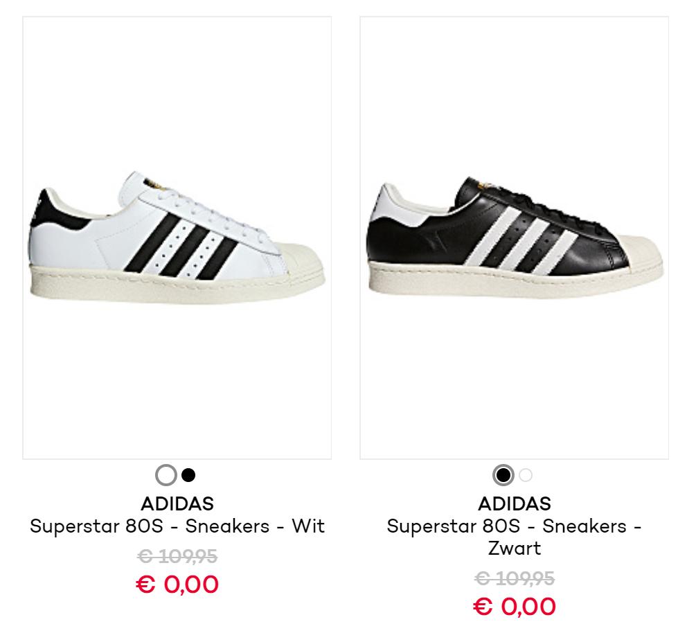 [Prijsfout] Adidas Superstar voor €0 + €3,90 verzendkosten @ Planet Sports