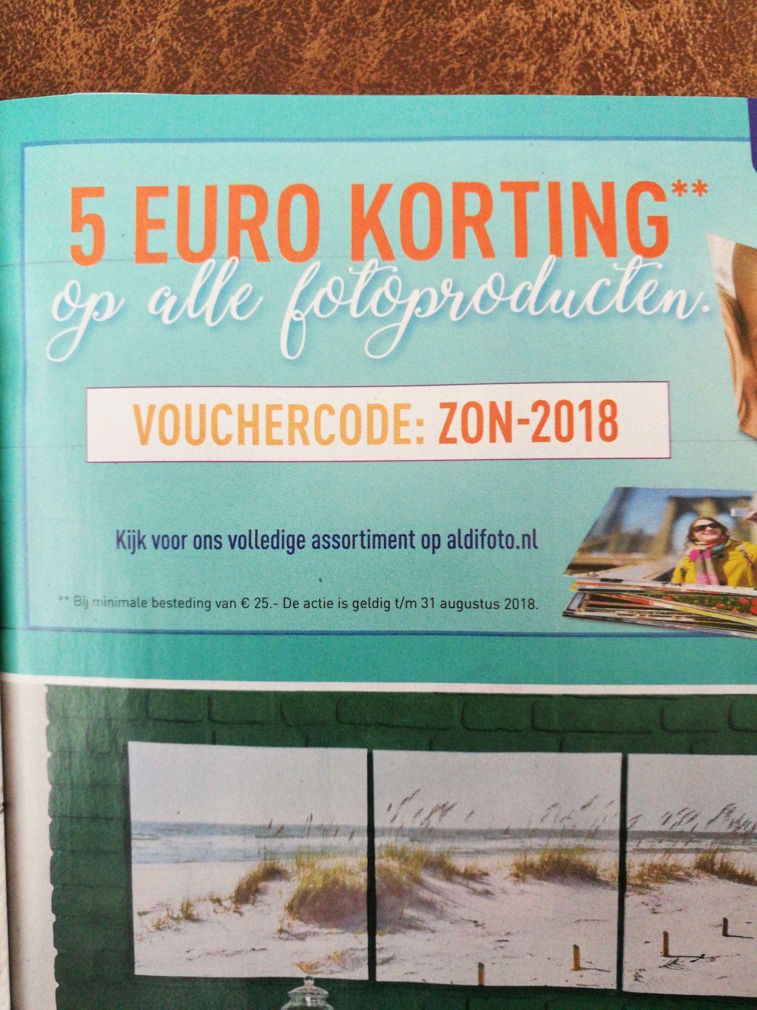 Vanaf 26-7  5 euro korting bij besteding van€ 25,- op Aldi foto producten