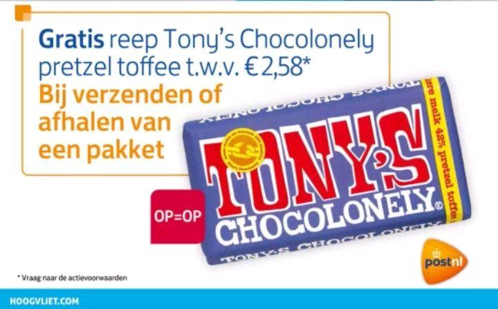 @Hoogvliet, gratis Tony's chocolonely bij verzenden of afhalen pakket