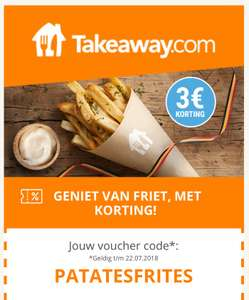 [BE] Takeaway.com 3 euro korting