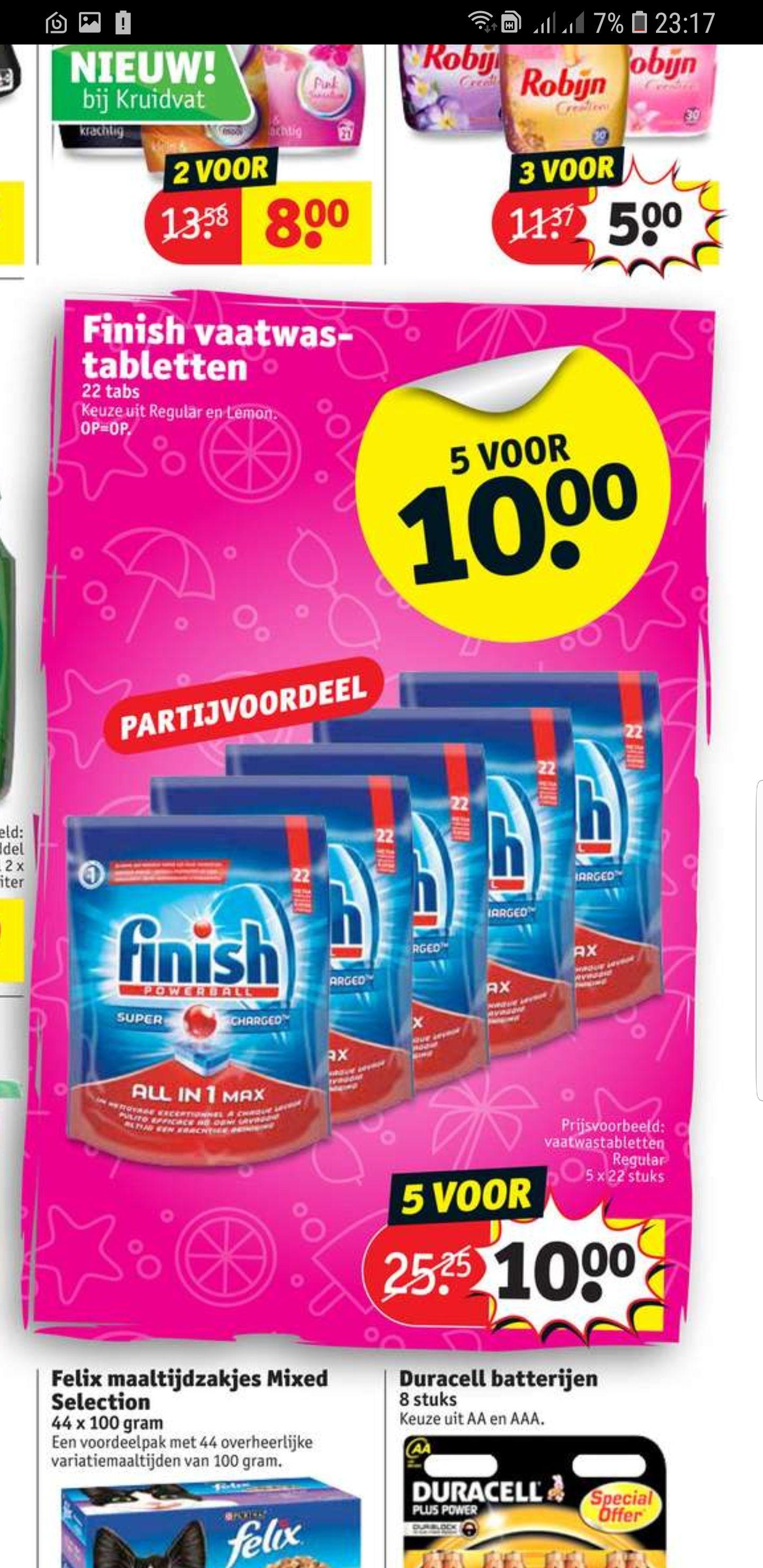 In de winkel bij Kruidvat 5x22= 110 Vaatwassertablete voor €10,- op=op keuze uit Regular of Lemon