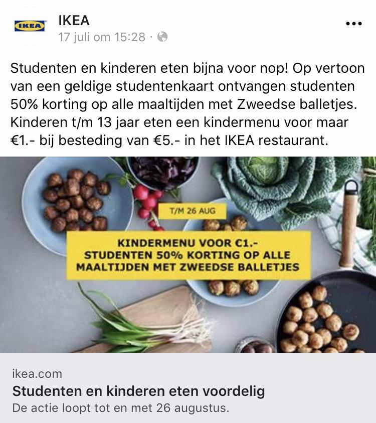 IKEA: 50% korting op Zweedse balletjes voor studenten en kindermenu voor €1