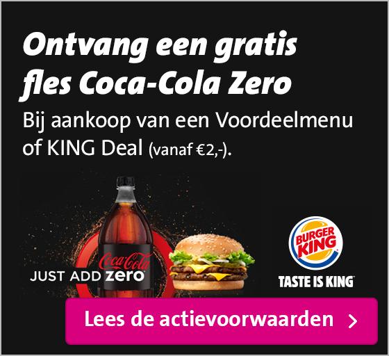 Gratis 1.5L fles Coca-Cola Zero bij aankoop van een Voordeelmenu of een KING Deal (vanaf €2,-) @ Burger King