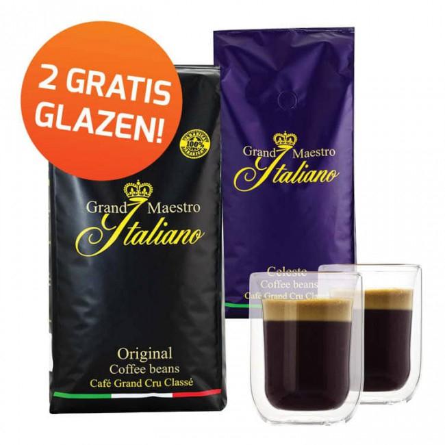 2 x Grand Maestro Italiano Koffie + 2 Glazen + Extra Cadeau @ Koffievoordeel