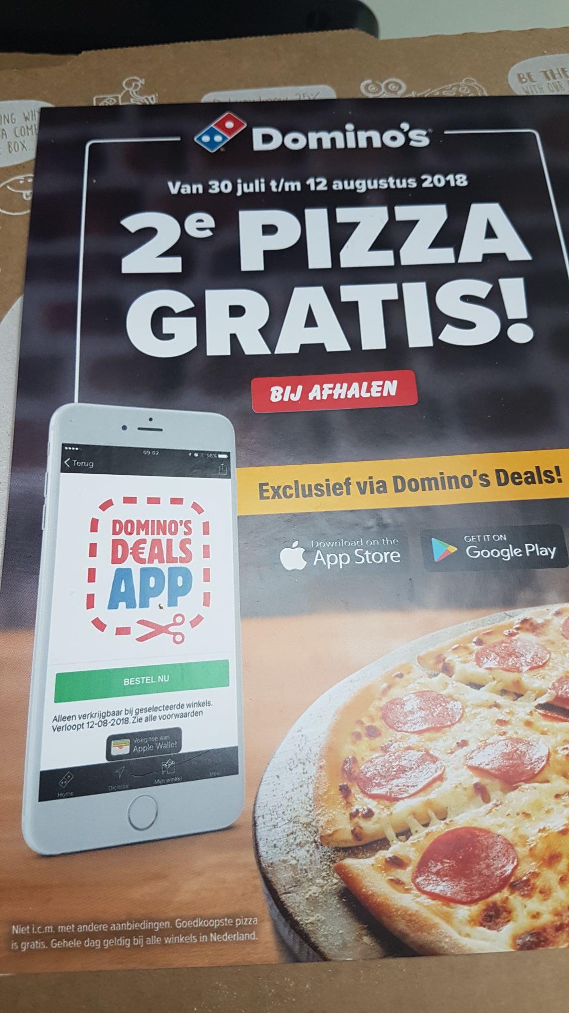 Domino's 2e pizza gratis bij afhalen van 30 juli t/m 12 augustus. Via de app Domino's Deals of gebruik Quincy's code uit de comments. Geldig in heel Nederland