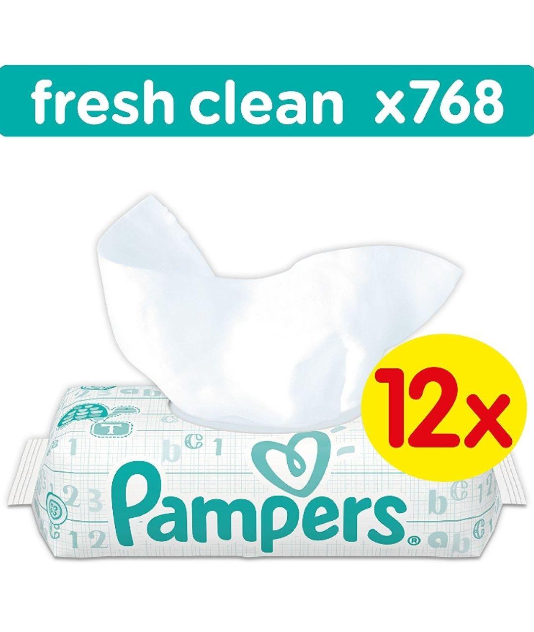 Amazon.de Pampers doekjes fresh and clean 12 pakken x 64 stuks= 768 doekjes