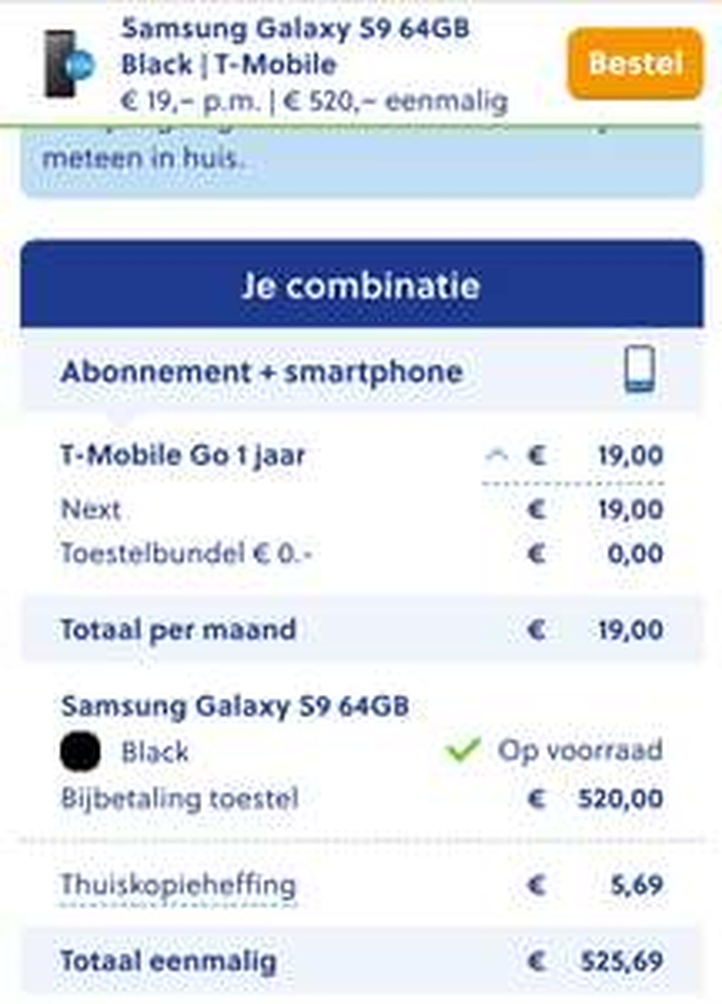 Galaxy S9 i.c.m. eenjarig Tmobile abonnement @Mobiel.nl 425 euro