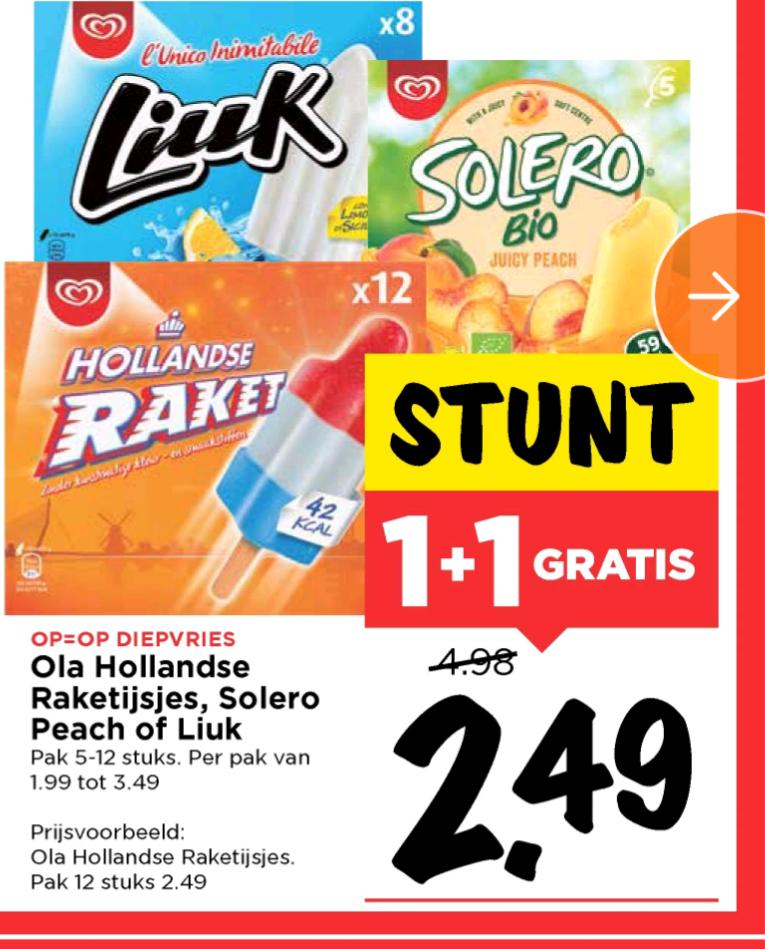 1+1 gratis acties (raket)ijsjes bij (Vomar, Deen en Jan Linders)
