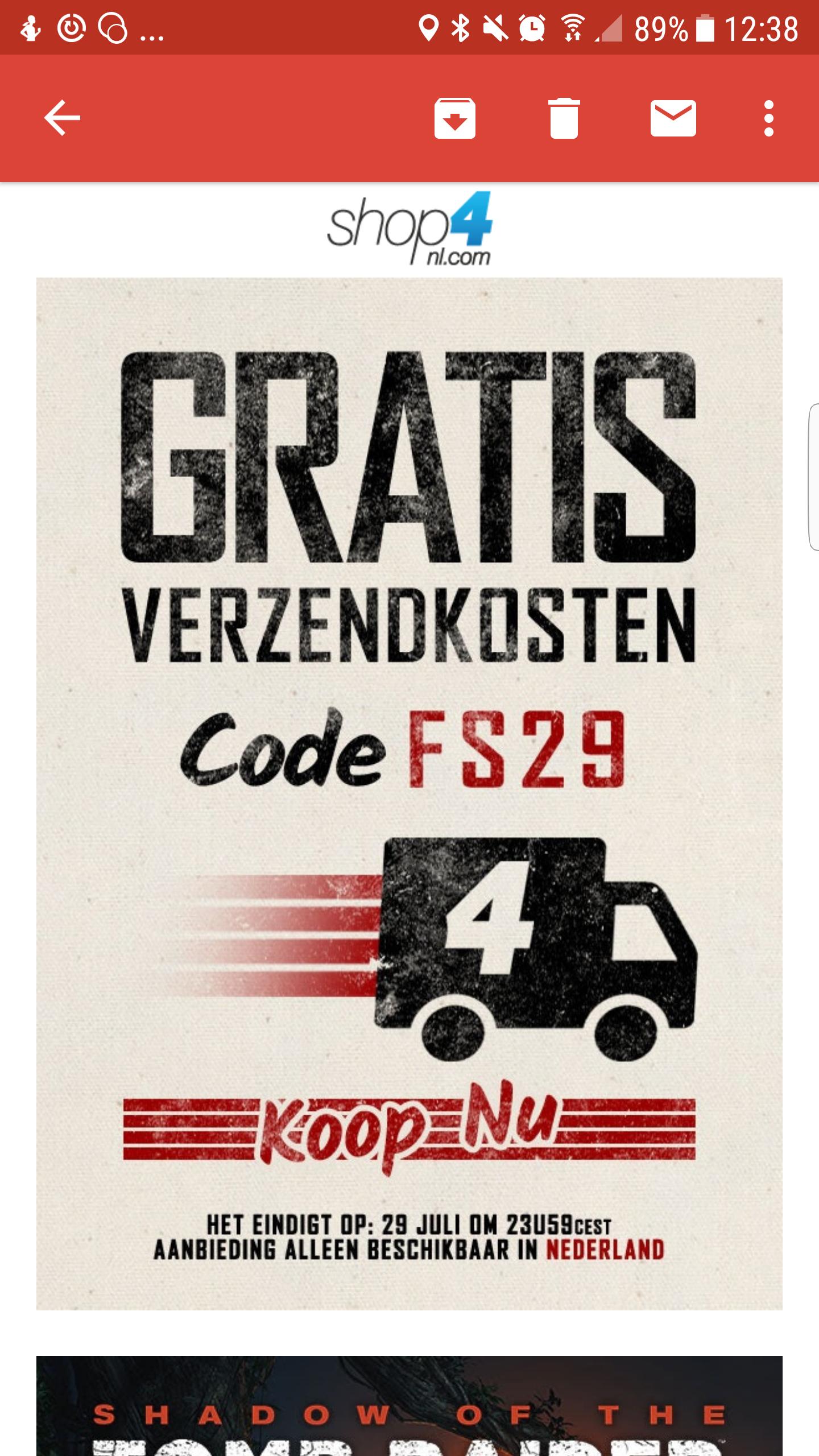 Code voor geen verzendkosten bij Shop4nl.com