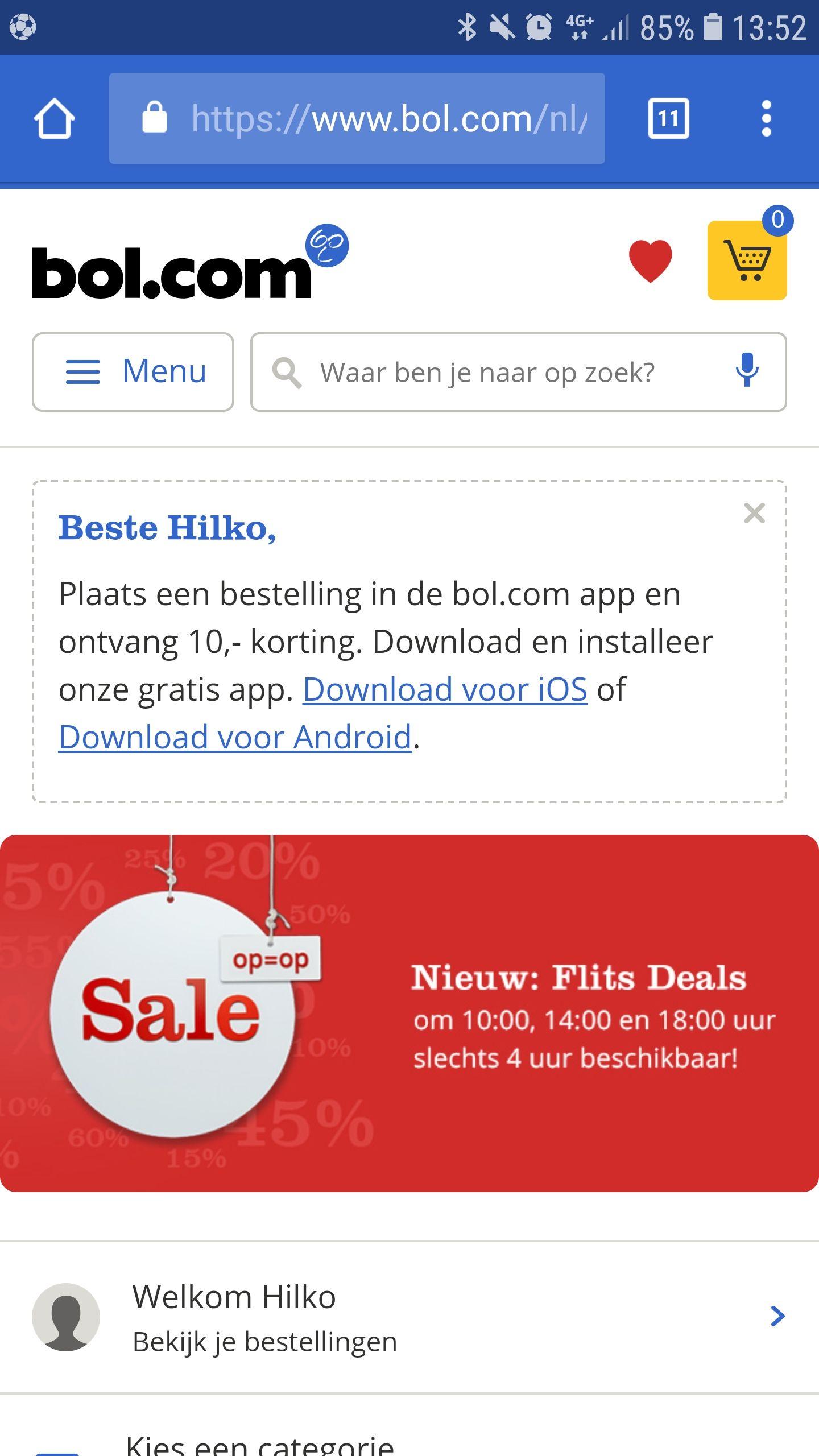 10 euro korting bij besteding vanaf 50 euro bij bol.com