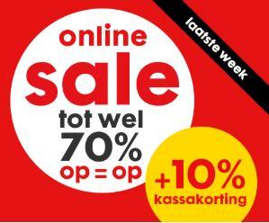 Online sale met tot 70% korting + 10% extra kassakorting @ HEMA