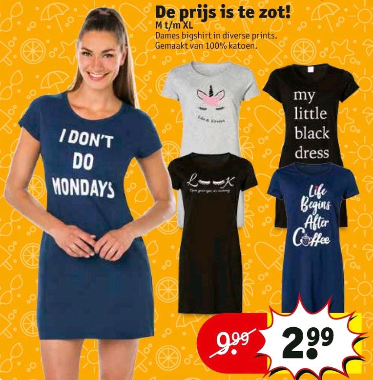Dames bigshirt diverse prints M-XL ~ €2,99 @ Kruidvat