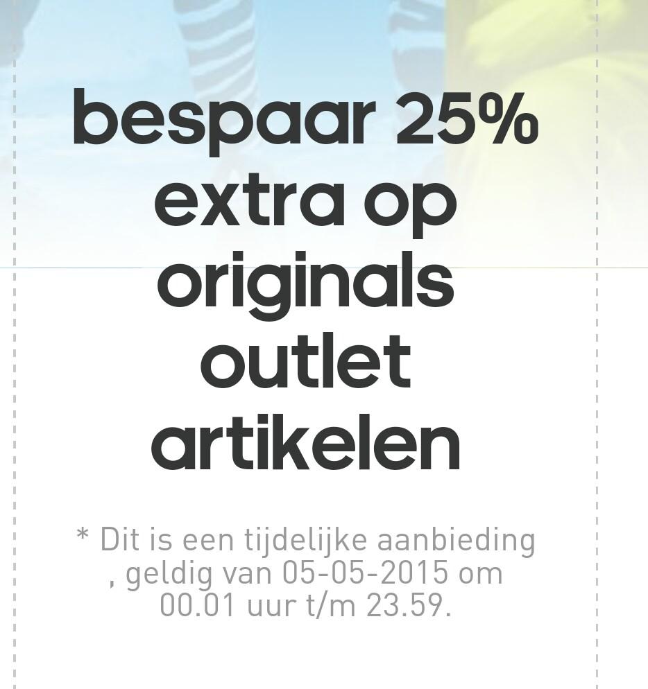 Alleen vandaag 25% extra korting op orginals outlet artikelen @ Adidas