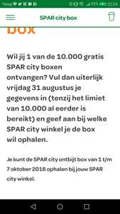 Gratis Spar city box en gratis koffie of thee