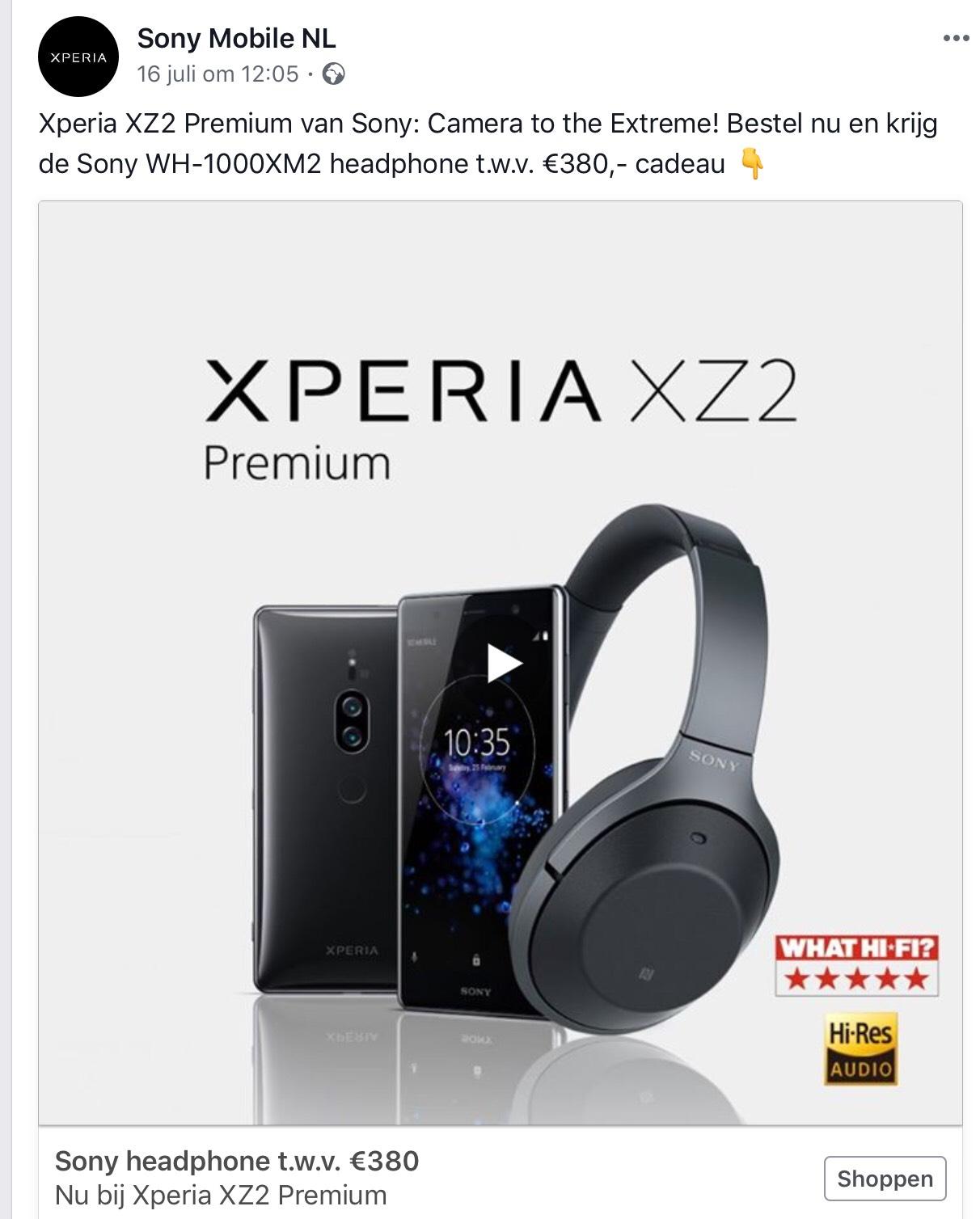 Gratis Koptelefoon bij aankoop Sony XZ2 Premium Smartphone