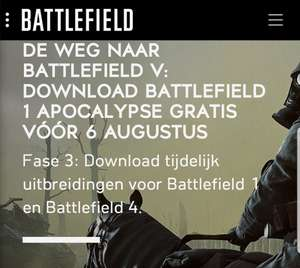 Gratis uitbreiding voor Battlefield 1 en 4 PC, Xbox One en Playstation 4