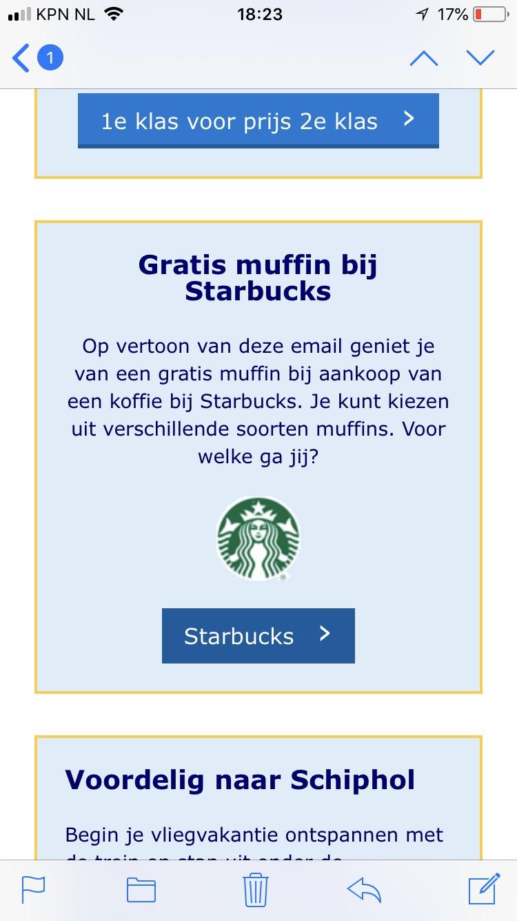 Gratis muffin bij Starbucks bij NS (bij aankoop handgemaakt drankje)
