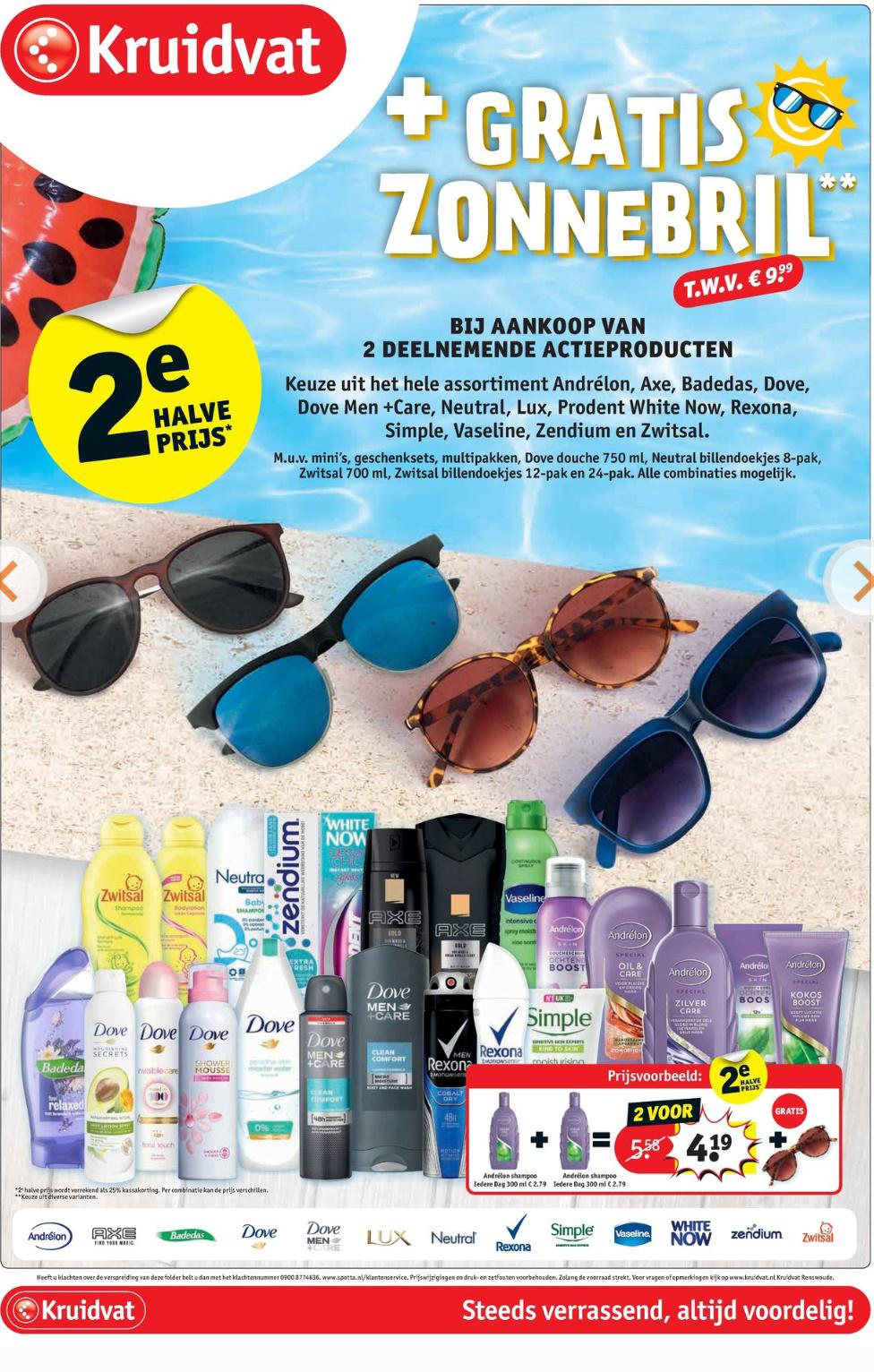 Gratis zonnebril twv €9.99 bij aankoop van 2 actieproducten bij Kruidvat