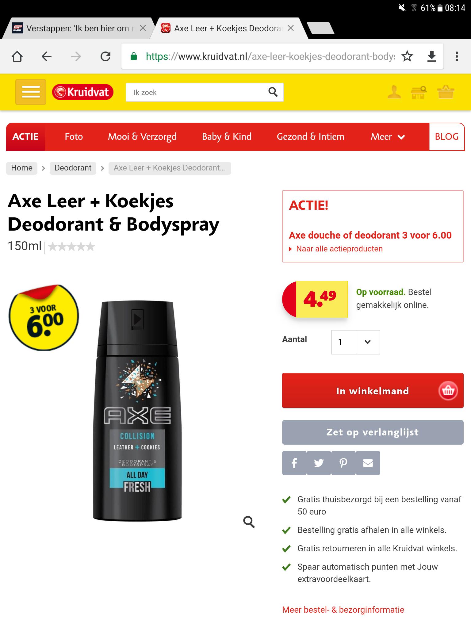 Axe 3 voor € 6,-