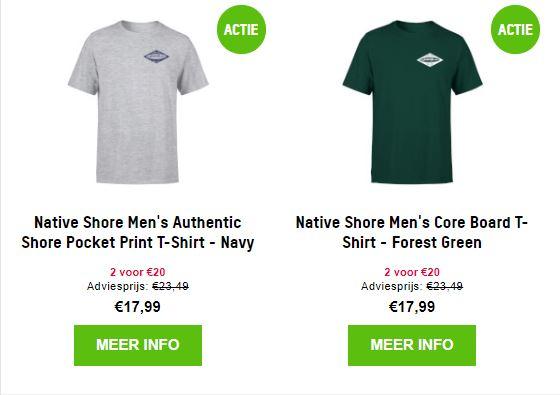 Actie: 2 Native Shore t-shirts €20 @ Zavvi
