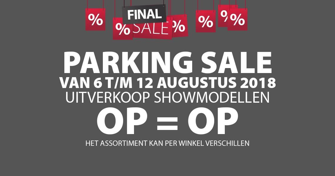 Parking Sale bij Jysk. Van 6 tot 12 augustus. Uitverkoop showmodellen