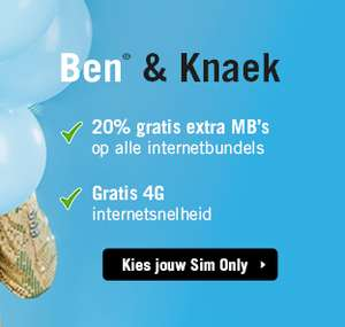 Gratis 20% extra MB's & 4G bij Ben (ook bij verlengen) @ben.nl