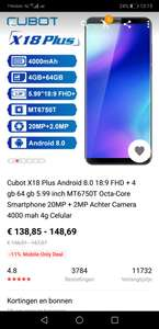 Cubot X18 Plus Android 8.0 18:9 FHD + 4 gb 64 gb 5.99 inch MT6750T Octa-Core Smartphone 20MP + 2MP Achter Camera 4000 mah 4g Celular