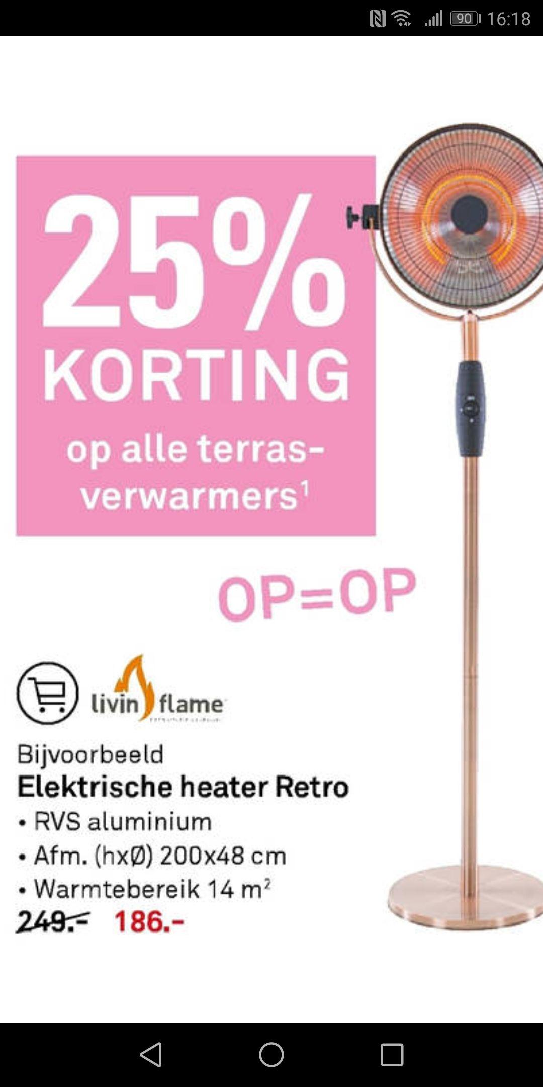 Terrasverwarmers 25% korting