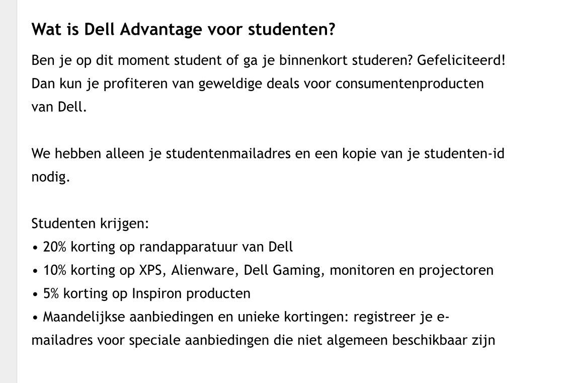 Tot 20% studentenkorting bij Dell