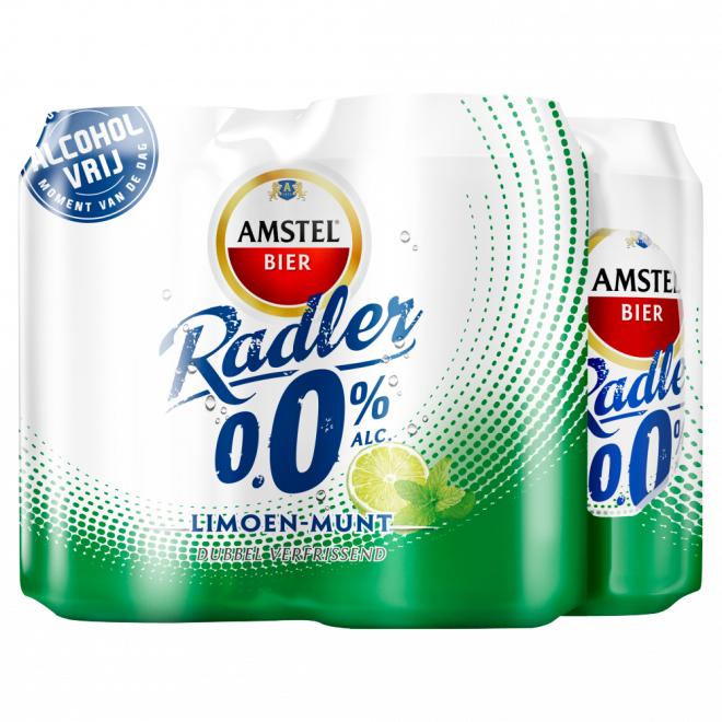 Amstel 4 pack blik 0.0 Radler Limoen Mint