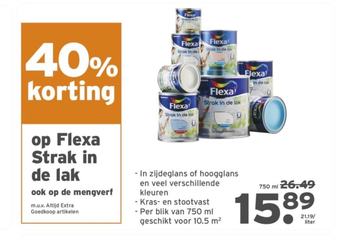 40% korting op Flexa strak in de lak