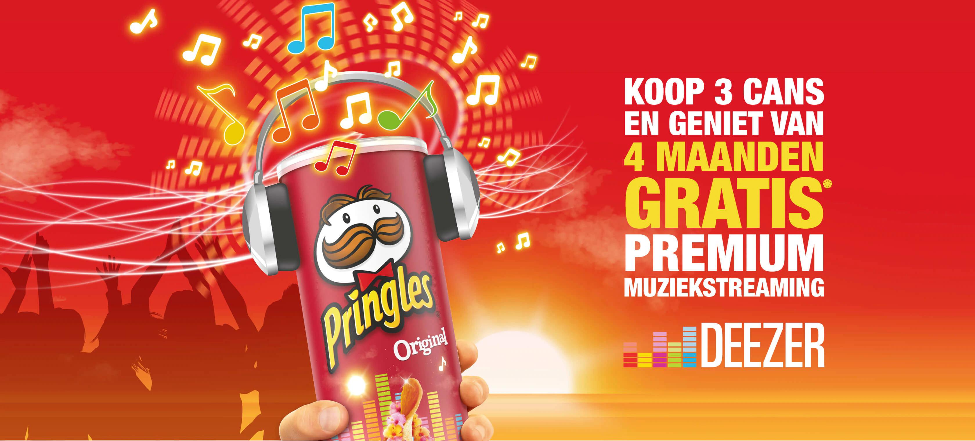 4 maanden GRATIS Deezer premium bij 3 bussen Pringles (nieuwe users)