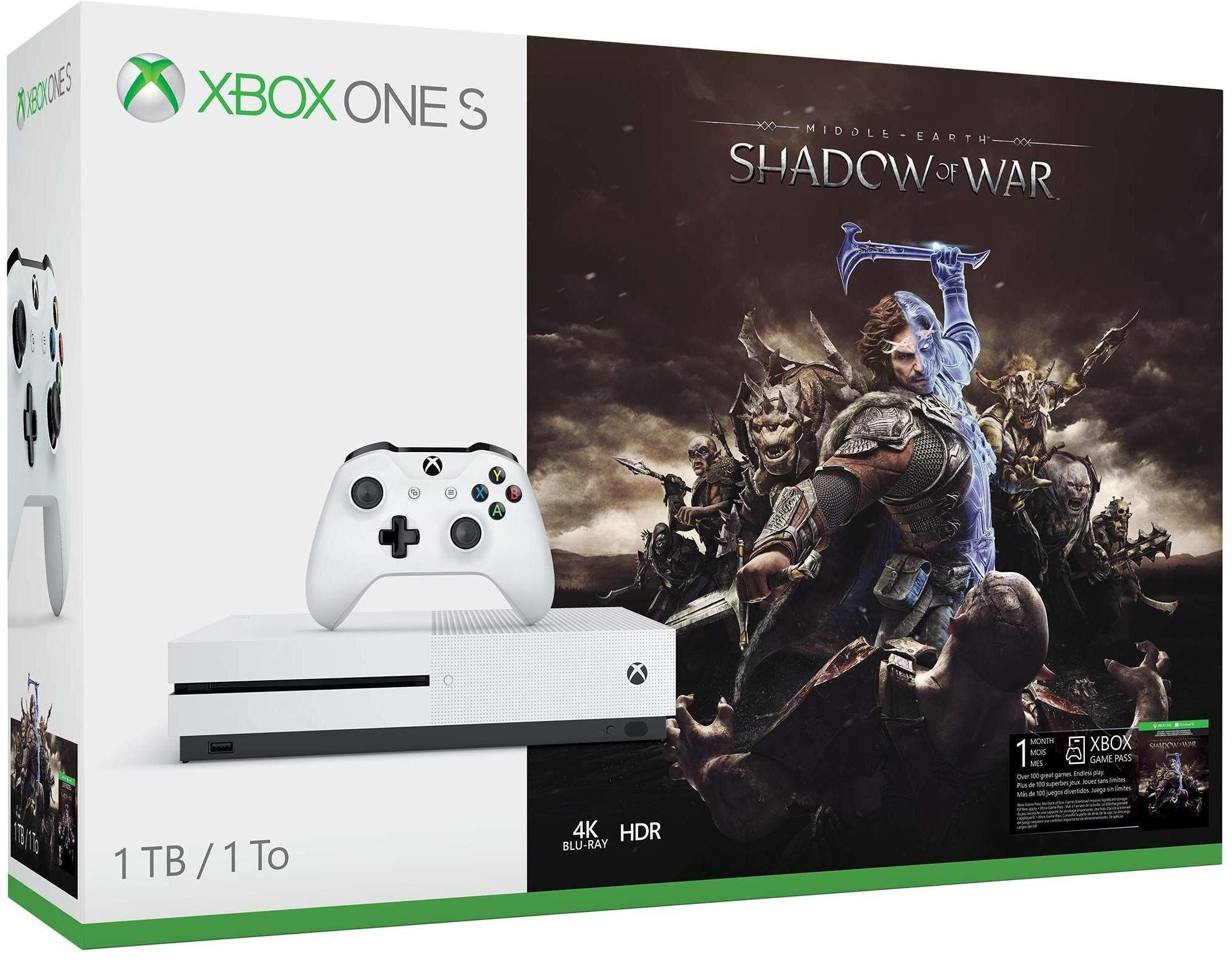 Xbox One S Console - 1TB + Shadow of War + 1 maand Gamepass @Amazon.es