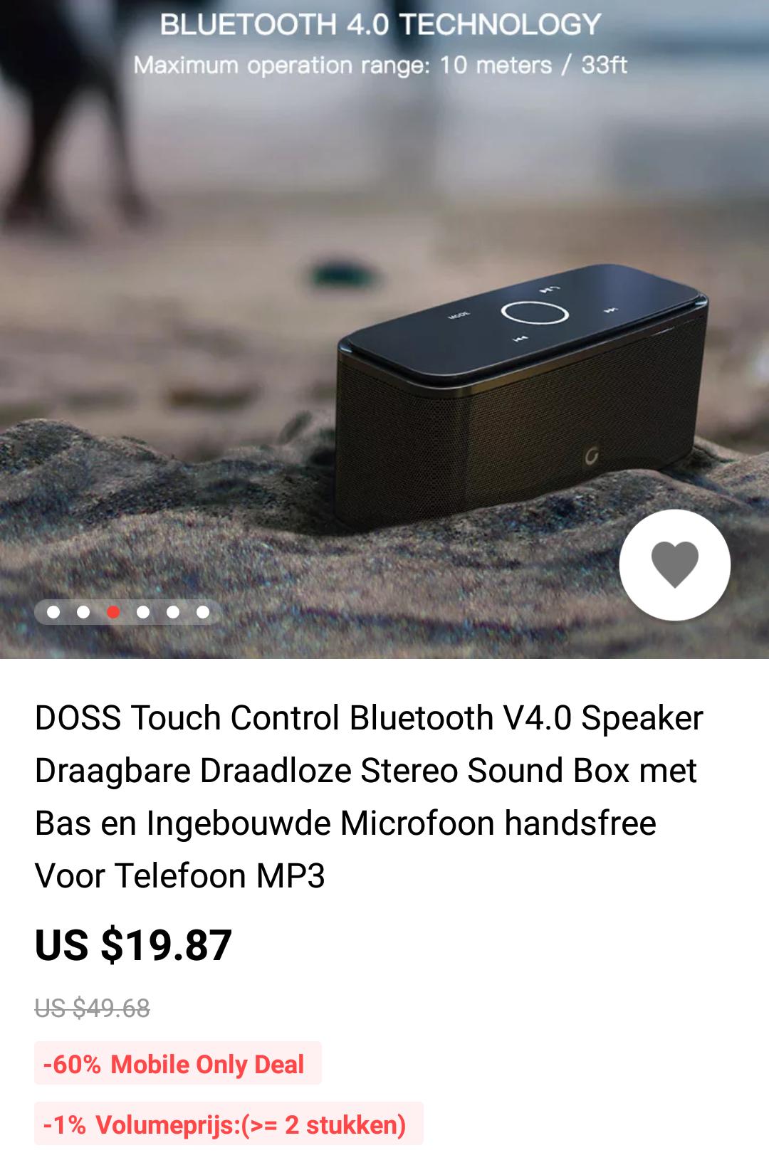 Aliexpress DOSS Touch Control Bluetooth V4.0 Speaker Draagbare Draadloze Stereo Sound Box met Bas  je betaald net geen Invoerrechten