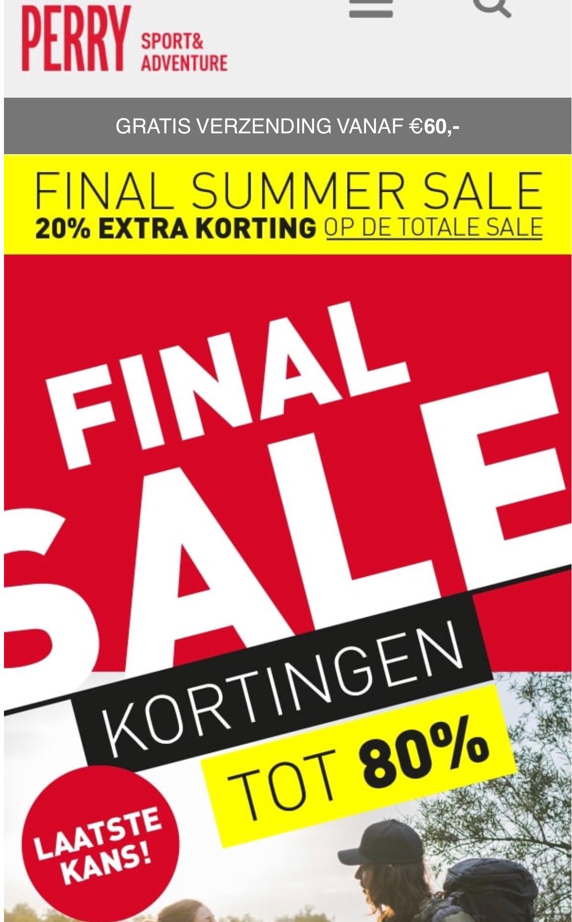 20% Extra korting op de Final Sale bij Perry Sport en Aktiesport