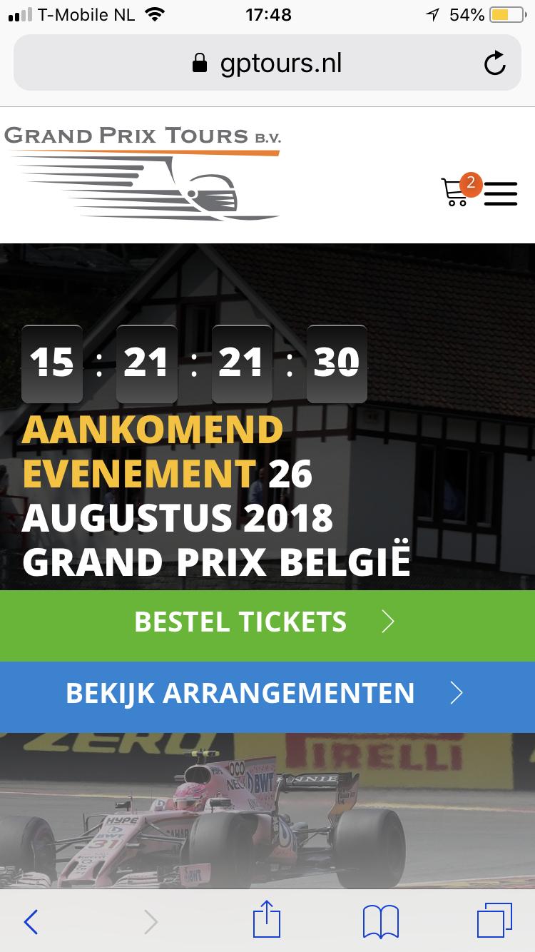 Korting op tickets voor Grand prix België met code:  rn365silver1