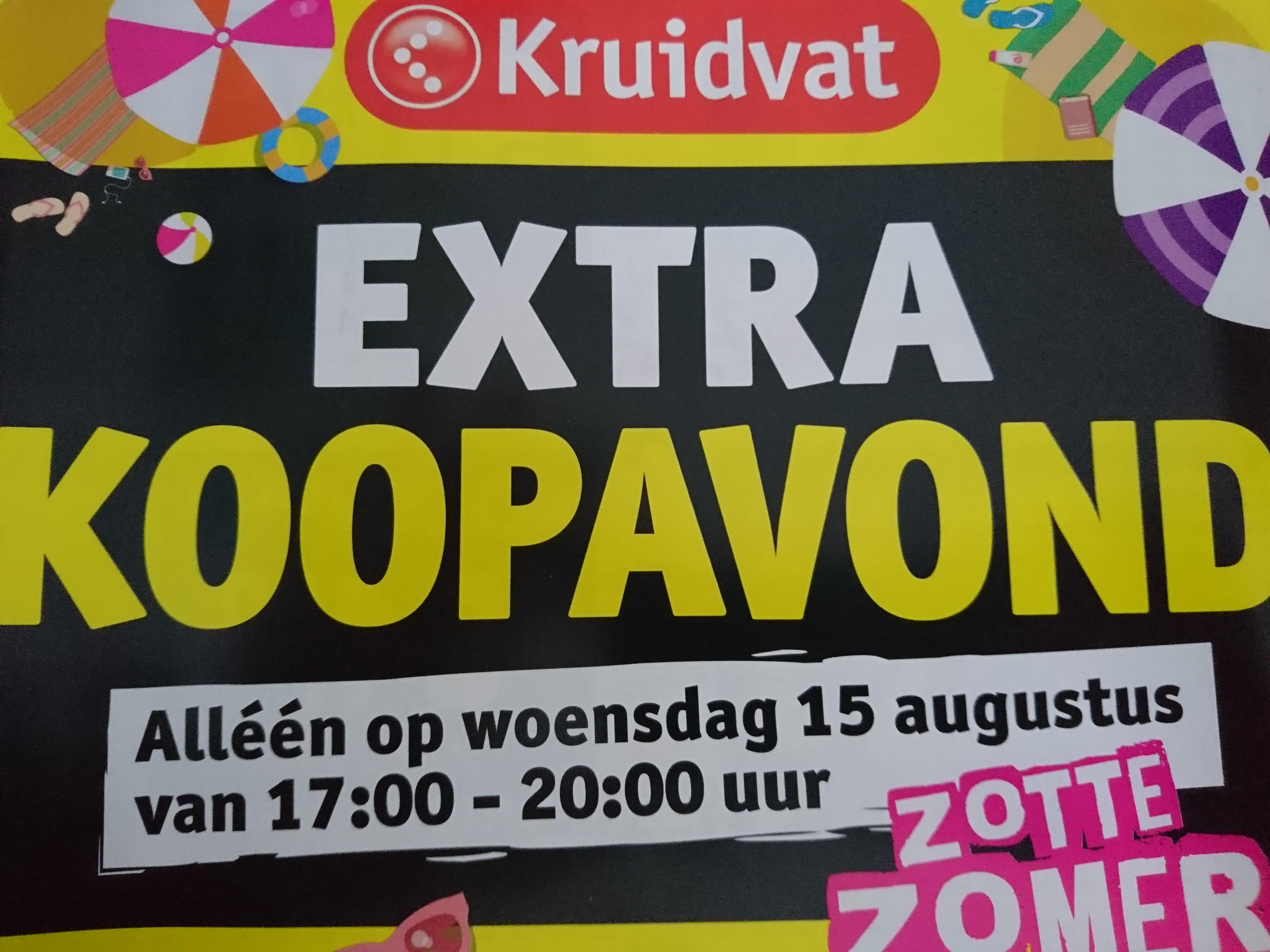 Extra koopavond op woensdag 15 augustus @ Kruidvat