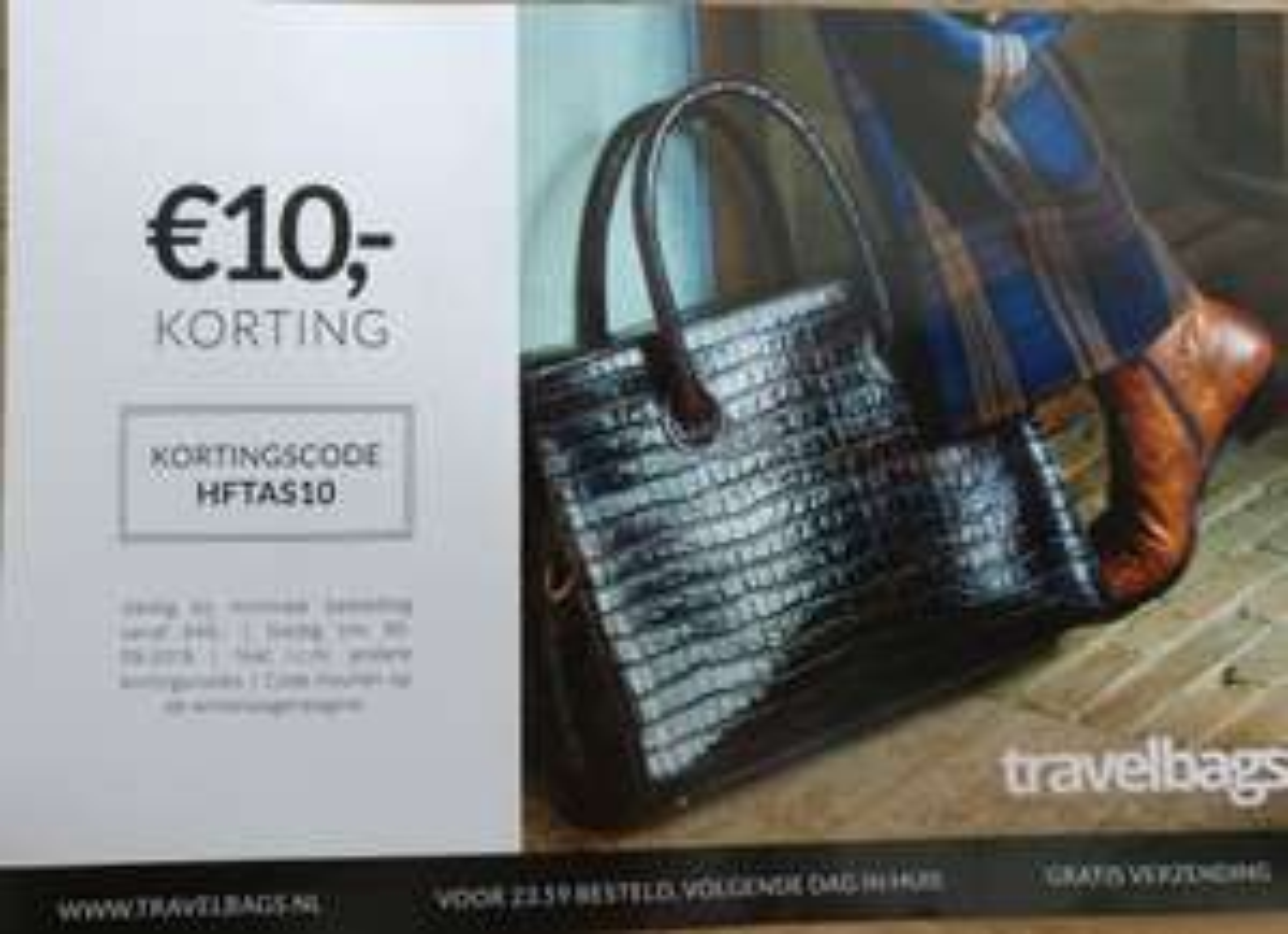 10 euro korting bij Travelbags (bijv. voor Secrid)