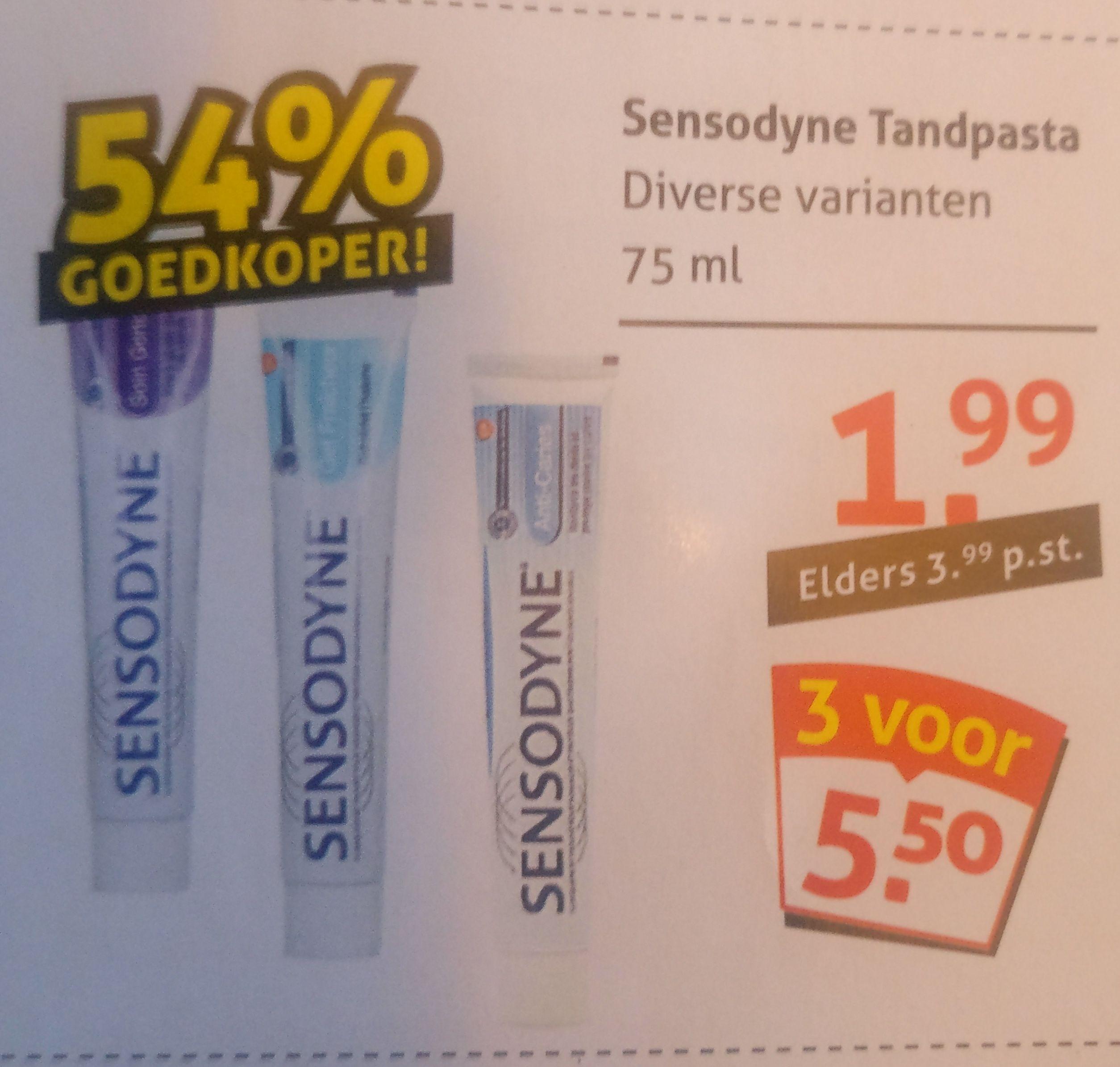 Sensodyne tandpasta 54% goedkoper bij op=op voordeelshop. 3 voor  €5,50 of €1,99 p. stuk