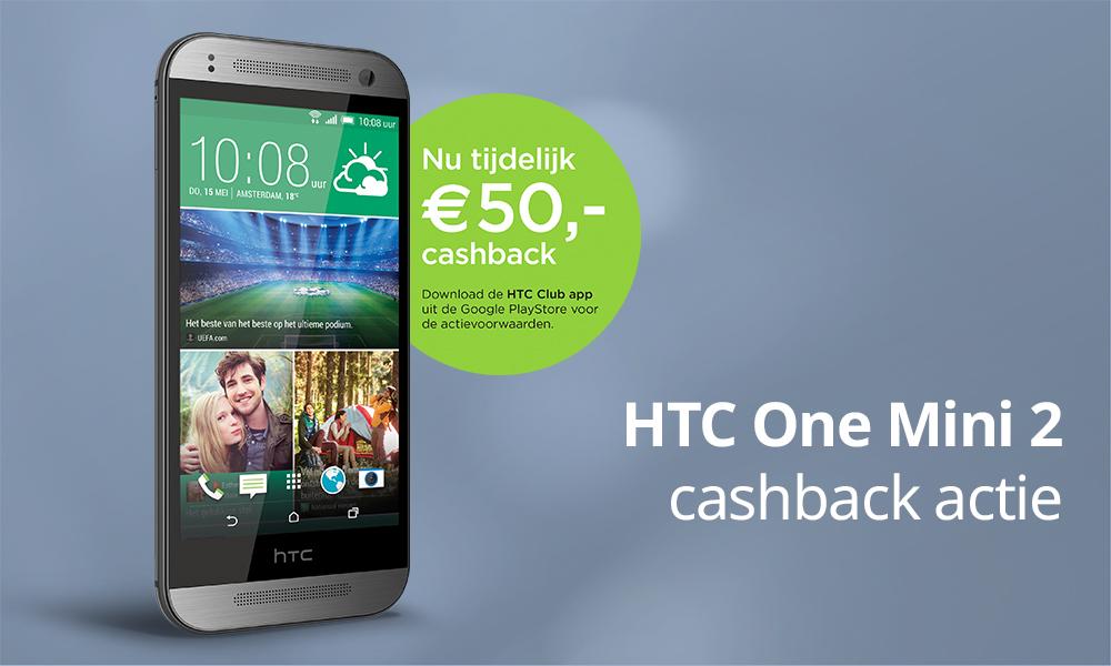 HTC One Mini 2 met BEN 100 min/sms (1 maand) na cashback voor €214,45 @ Coolblue